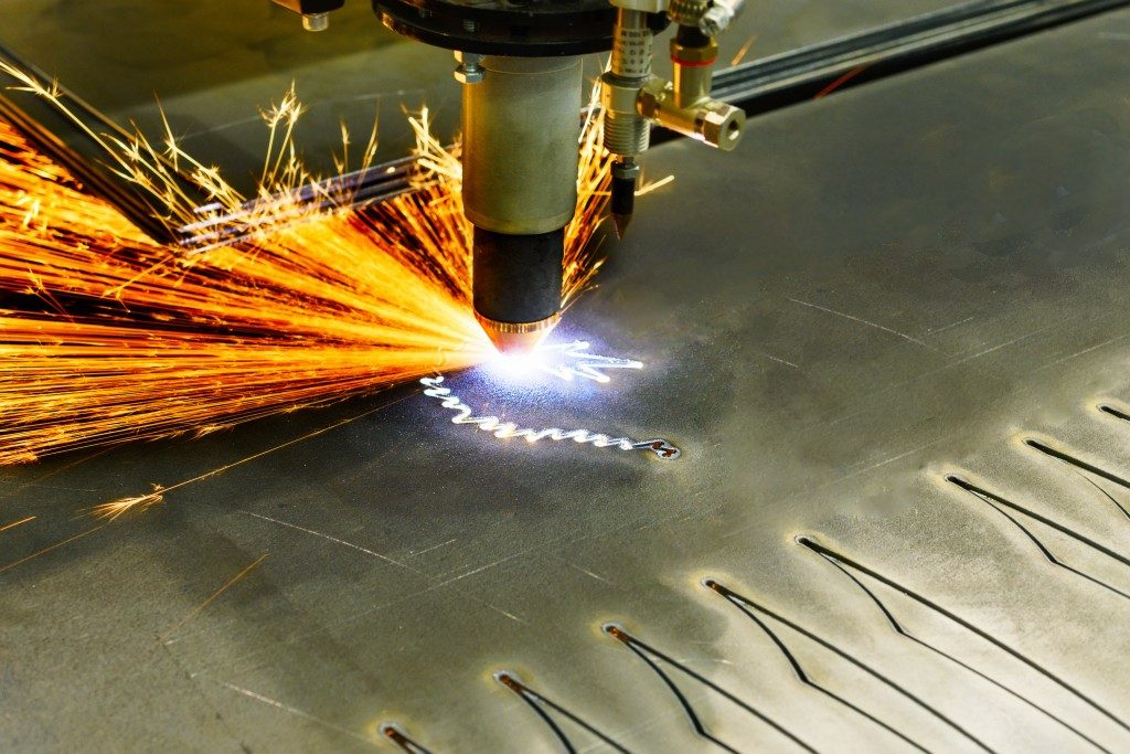 CNC plasma cutting machine during operation