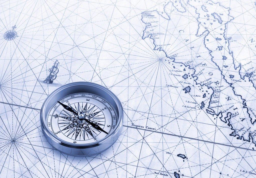 Brass compass map