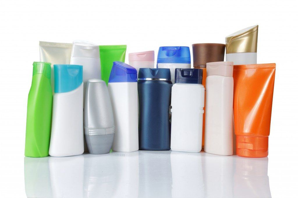 large group of product packaging