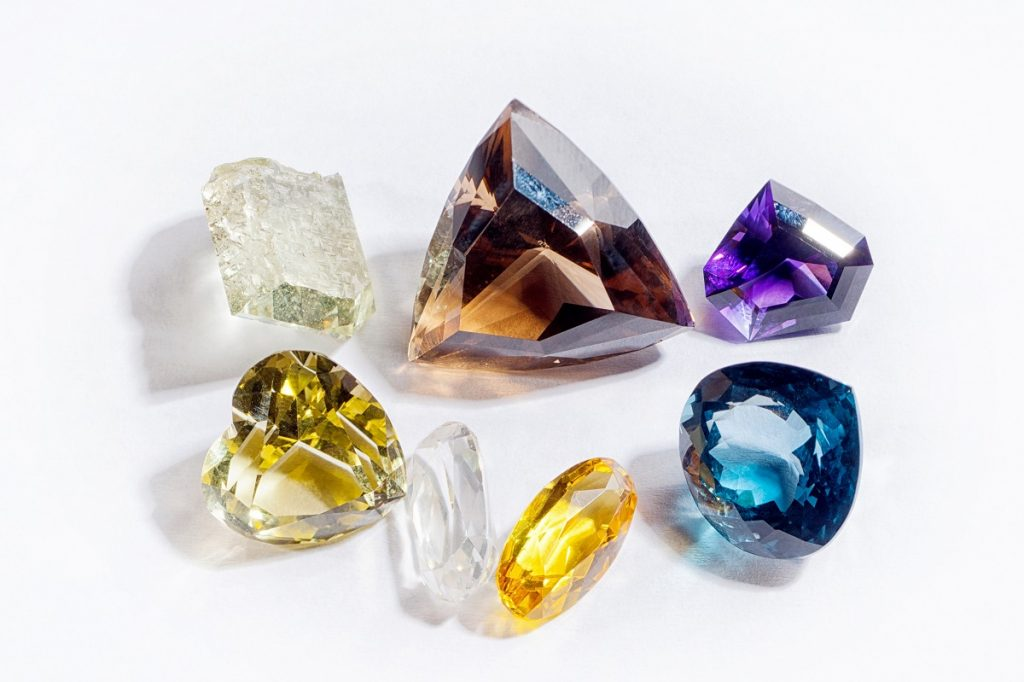 diamonds in different shapes and colors