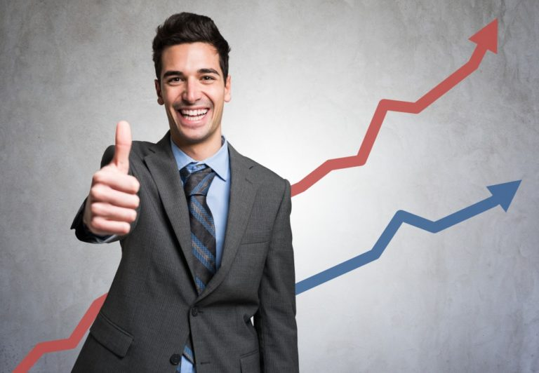 chart increase with happy businessman
