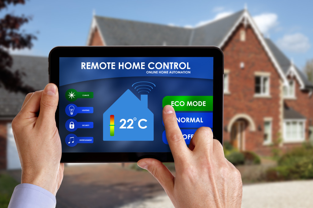 remote home control app on tablet