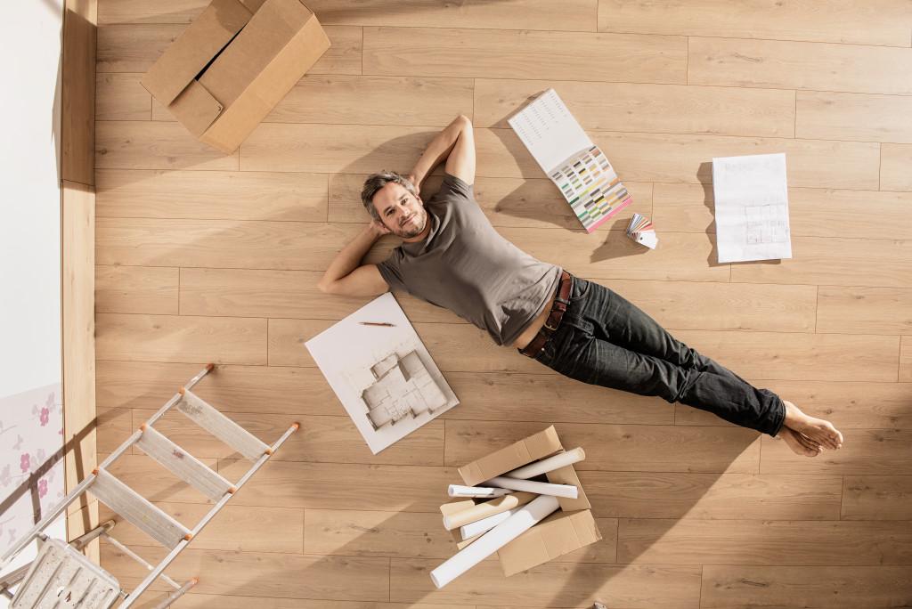 man renovating a room